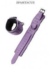 Bracelets poignets cuir violet